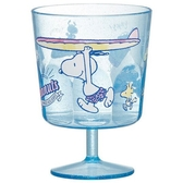 〔小禮堂〕史努比 日製無把透明塑膠矮腳杯《藍.拿衝浪板》260ml.派對杯.飲料杯 4973307-45184