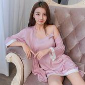 性感睡衣女夏季冰絲火辣長袖睡袍情趣誘惑成人薄款吊帶睡裙兩件套   麥吉良品