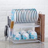 廚房置物架雙層瀝水碗碟架放碗筷瀝水架碗架收納架子碗盤廚房用品 koko時裝店