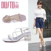 夏季韓版高跟粗跟交叉綁帶涼鞋女鞋 奇思妙想屋