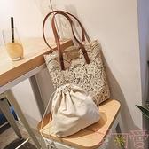 包包女韓國蕾絲手提購物袋復古夏天刺繡托特包單肩包【聚可愛】