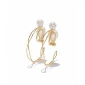 phoebe 交錯金線圈珍珠耳環 耳夾式 4cm