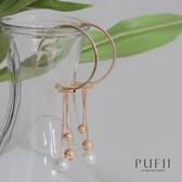 限量現貨◆PUFII-耳環 圓形垂墜鏈子珍珠耳環-0323 現+預 春【CP18205】