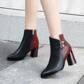粗跟短靴女2019秋冬季新款時尚亮片高跟尖頭馬丁靴矮靴子 XN7318【極致男人】