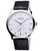 epos 經典超薄獨立小秒針機械腕錶-白 3408.208.20.10.15FB