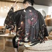 和服外套男 夏季中國風長款防曬服男士復古改良漢服薄款道袍和服開衫披風外套