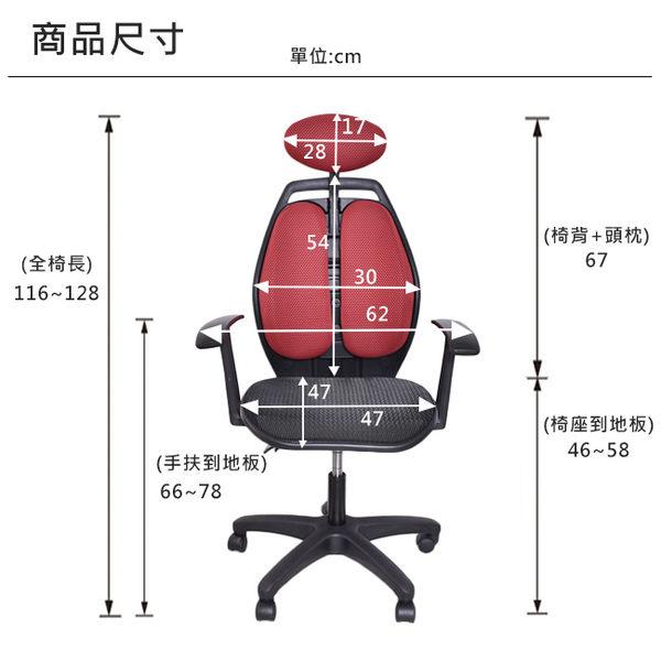 電腦椅 辦公椅 書桌椅 凱堡 雙背腰頭靠調整透氣辦公椅(4色)台灣製 一年保固 【A29128】