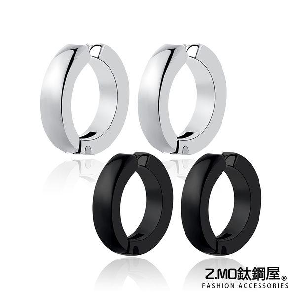[Z-MO鈦鋼屋]經典素色圓扣造型耳扣/圓形設計/好友禮物推薦/簡約中性風格/單個價【ECS096】