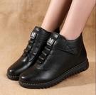 新款短靴女平底媽媽棉鞋中老年奶奶軟底防滑...
