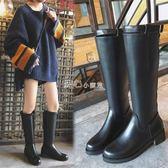 長筒靴馬丁靴女英倫秋冬新款直筒高筒靴顯瘦過膝長靴平底騎士靴   走心小賣場