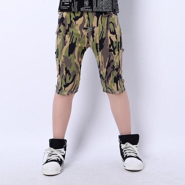 *╮小衣衫S13╭*中大童綠迷彩超彈修身馬褲1040450