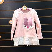 ☆棒棒糖童裝☆(87471)秋冬女童粉色貼布小兔長版長袖上衣 5-15