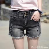 煙灰色牛仔短褲女夏2020新款韓版破洞彈力學生毛邊a字熱褲寬褲 618年中大促銷