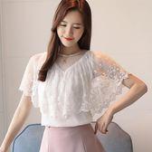 蕾絲短袖女夏2018夏裝新款韓版超仙飄逸上衣遮肚子寬鬆顯瘦雪紡衫 溫暖享家