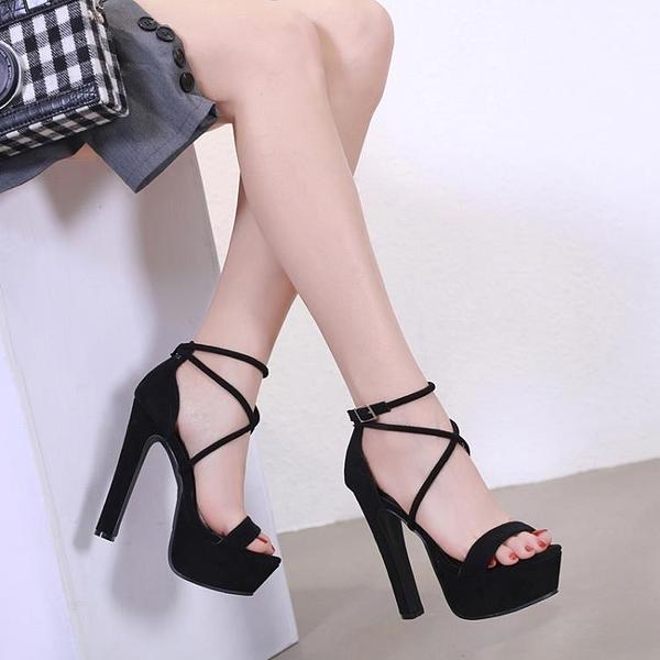 促銷九折 恨天高模特女鞋13cm/14cm超高跟單涼鞋女粗跟舞臺演出鞋走秀 模