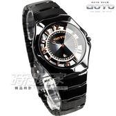 GOTO 多層次雙鏤空腕錶 黑陶瓷 女錶 玫瑰金x黑 GC1022M-33-341 時間玩家