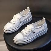 系帶休閒鞋女 百搭淺口小白鞋 透網時尚休閒鞋/2色-夢想家-標準碼-0512