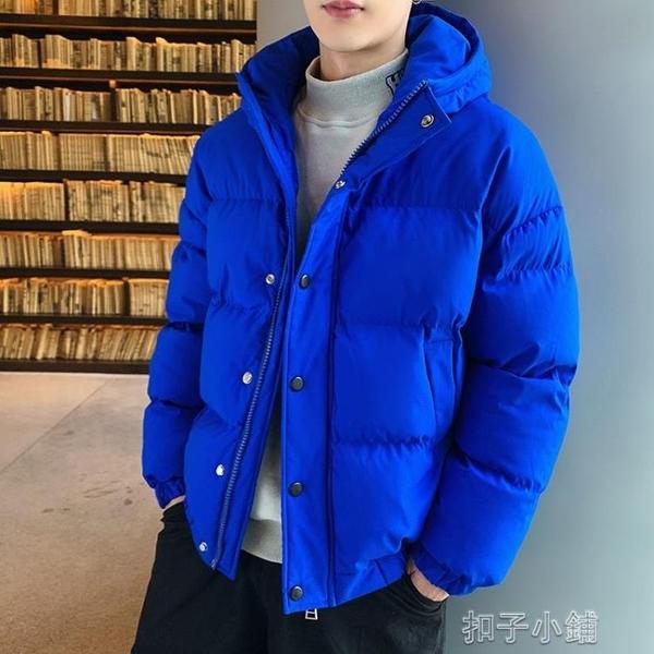 男士冬季面包服羽絨棉外套短款加厚棉衣橘色潮流棉服韓版棉襖連帽快速出貨