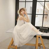 韓版純色紗裙莫代爾寬鬆大碼網紗蕾絲吊帶背心打底洋裝高腰長裙