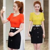 套裝裙夏季新款韓版氣質短袖修身包臀顯瘦假兩件套裝LJ10189『小美日記』