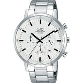 ALBA雅柏 Prestige 街頭酷流行計時男錶-白x銀/42mm VD53-X296S(AT3D35X1)