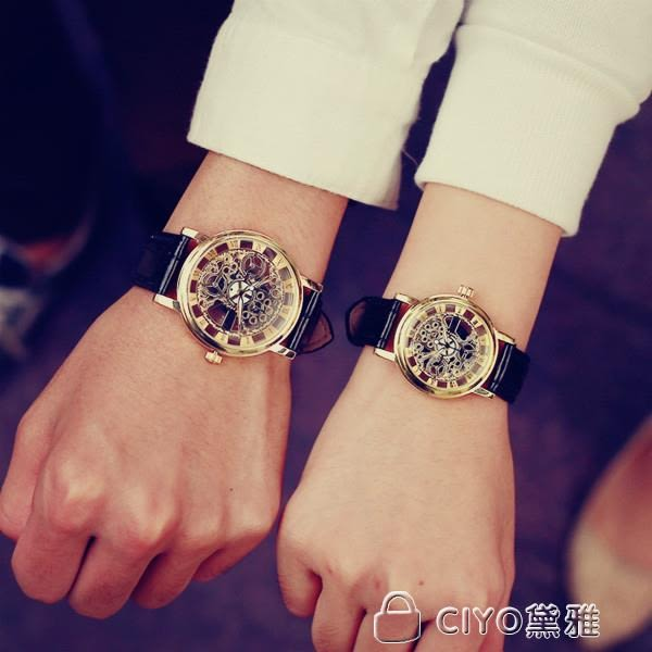 情侶手錶 時尚潮流鏤空防水夜光皮帶大錶盤學生女錶非機械男錶情侶石英手錶 ciyo黛雅
