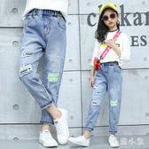 女童破洞牛仔褲 寬鬆夏薄款2019新款洋氣休閑中大童夏季褲子JA7749『毛菇小象』