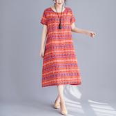 文藝複古女裝夏季寬鬆大碼顯瘦棉麻印花洋裝薄款休閒A字中長裙 美芭