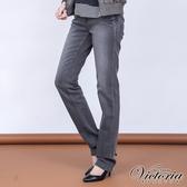 Victoria 豹紋鑽中高腰小直筒褲-灰色-VW210986