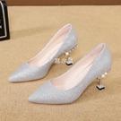 水鉆高跟鞋細跟香檳色尖頭女鞋新款銀色亮片婚鞋韓版百搭單鞋