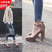 高跟鞋 涼鞋 春秋季高跟鞋 性感一字扣粗跟鞋 尖頭單鞋 包頭女鞋 小P