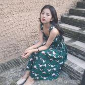 中長款吊帶裙女夏季新款學生韓版雪紡碎花甜美小清新連身裙 ciyo黛雅