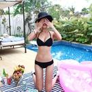 韓國ins小香風性感黑色比基尼三點式鋼托聚攏小胸分體泳衣女藝考