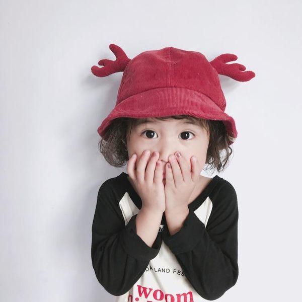 嬰兒漁夫帽1歲可愛寶寶帽子燈芯絨鹿角2歲兒童帽子時尚男女童盆帽
