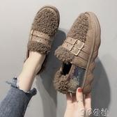 加絨豆豆鞋 毛毛鞋加絨豆豆鞋女秋冬新款厚底一腳蹬外穿羊羔毛棉鞋 快速出貨