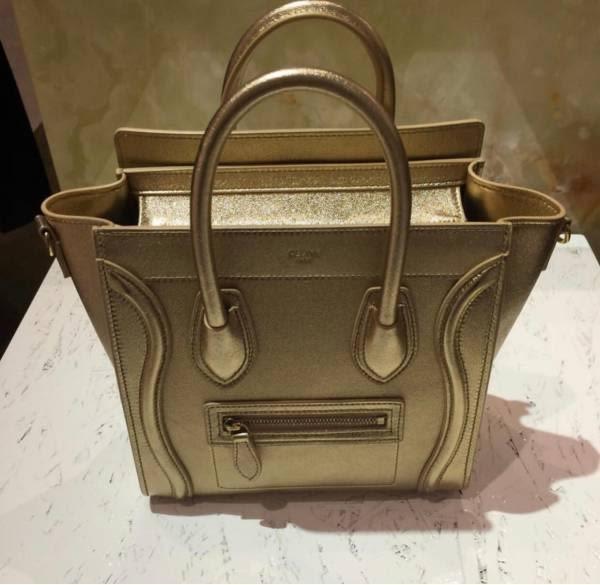 ■專櫃78折■Celine 瑟琳 層壓羊皮袖珍型 Nano Luggage 可斜背2用包 金色