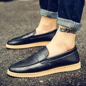 豆豆鞋休閒英倫小皮鞋潮流一腳蹬懶人豆豆男鞋社會潮鞋 法布蕾輕時尚