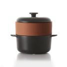 JIA Steamer Set 24cm 蒸鍋蒸籠 饗食版 套組(黑色鍋身 + 橘色赤陶蒸籠盤)