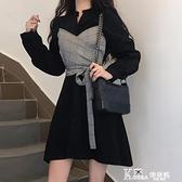 長袖洋裝 心機小黑裙赫本風黑色洋裝子收腰顯瘦氣質2020流行女裝秋季新款 Korea時尚記