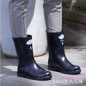 雨靴 韓國可愛水鞋中筒秋冬時尚防水鞋套鞋防滑膠鞋戶外成人LB4142【Rose中大尺碼】