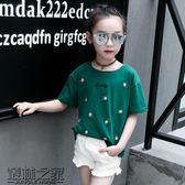 黑五好物節 女童短袖T恤2018新款韓版中大童刺繡打底衫兒童夏裝女孩純棉上衣