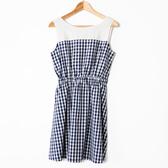 【MASTINA】格紋無袖收腰洋裝-深藍 好康優惠