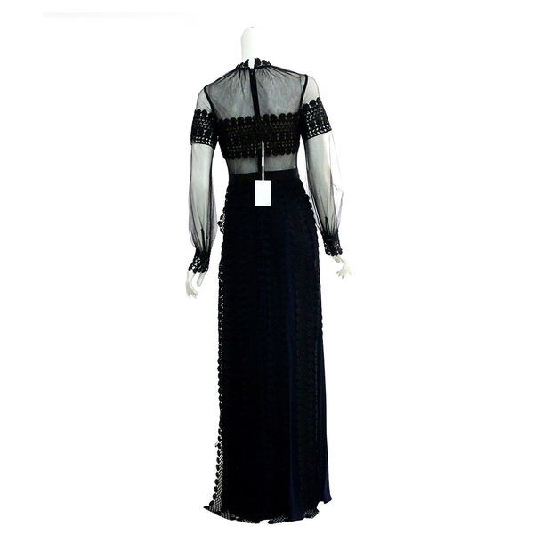【self-portrait】黑色長袖立領雪紡蕾絲拖地長洋裝 SP9087