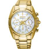 SEIKO精工 晶鑽計時手錶-珍珠貝x金/36mm 7T12-0CK0G(SRW782P1)