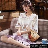 新款棉質睡衣女士夏天短袖睡裙女學生韓版可愛寬鬆大碼過膝家【全館免運】