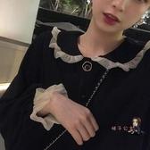 小黑裙 赫本風法式復古顯瘦過膝寬鬆洋裝女長袖秋季新款裙子