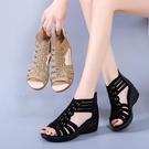 平底女時尚中年中老年坡跟女士百搭厚底中跟媽媽涼鞋 格蘭小舖