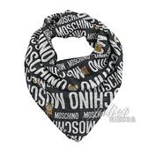 茱麗葉精品【全新現貨】 MOSCHINO 50139 M5352滿版小熊莫代爾質感薄圍巾.黑/大