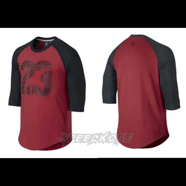 Nike Jordan As 3/4 TOP 七分袖 爆裂23 紅黑色 # 718762-687 ☆speedkobe☆