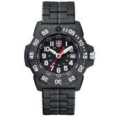 LUMINOX 雷明時NAVY SEAL 3500海豹2代碳纖維鏈帶腕錶-黑x白時標/45mm A3502